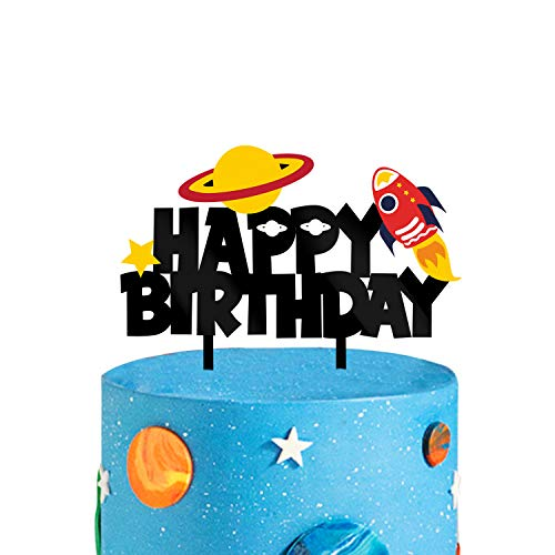 Acrylic Outer Space Happy Birthday Cake Topper, Rocket Ship Smash Cake Topper, Space Party Decoration, Little Astronaut Birthday Supplies