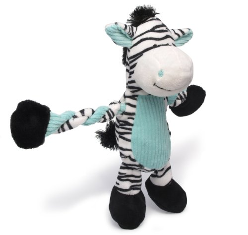 Charming Pet Pulleez Zebra Squeaky Plush Dog Toy with Ropes for Pull-Through Tugging Action, Blue