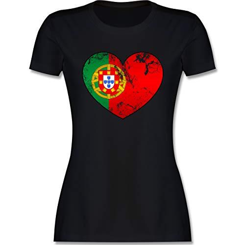 Fussball EM 2021 Fanartikel - Portugal Vintage Herz - M - Schwarz - Fussball Trikot Damen - L191 - Tailliertes Tshirt für Damen und Frauen T-Shirt