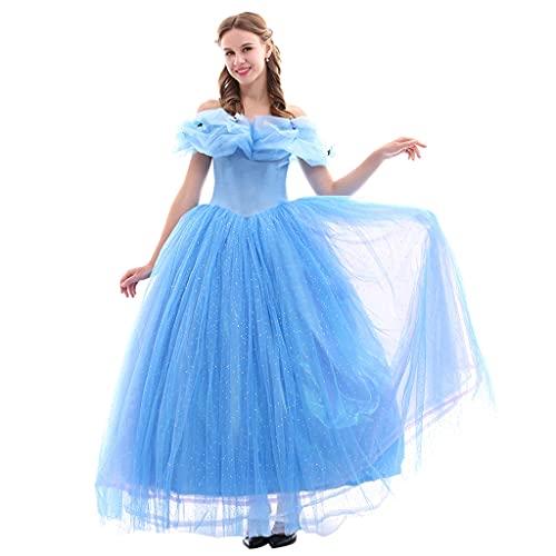 Fortunehouse Disfraz de princesa para mujer, vestido de Cenicienta, carnaval, cosplay, disfraz de Halloween