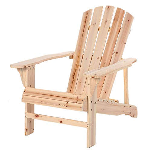Wood Adirondack Lounger Chair, Oversized Reclining Outdoor Garden Balcony Lawn w/Natural Finish, Max Load 100kg