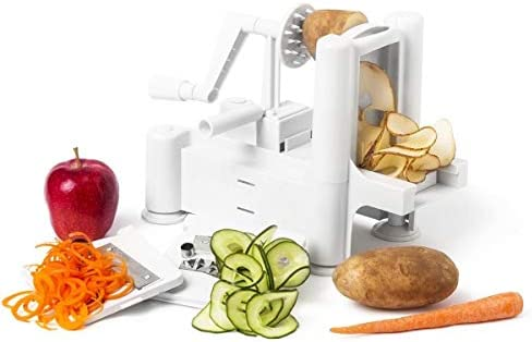 OKSLO Strongest and heaviest duty professional manual tri blade spiralizer fruit and product image
