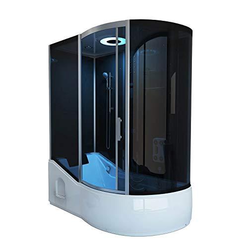 Home Deluxe - Duschtempel mit Regendusche und Handbrause - All IN 2in1 schwarz rechts - Maße: 170 x 90 x 220 cm | Komplettdusche mit Wanne, Fertigdusche, Dusche, Duschkabine Komplett