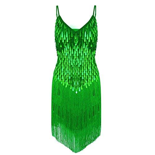 TiaoBug Damen Kleid Retro 1920er Stil Flapper Kleider Troddel V Ausschnitt Great-Gatsbie Motto Party Frauen Kostüm Festliche Pailletten Kleider...