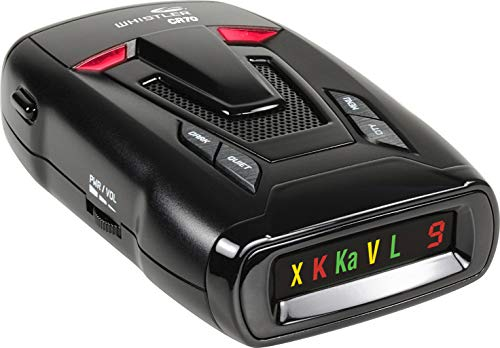 professional Whistler CR70 Laser Radar Detector: 360 Degree Protection and Voice Alarm – Black