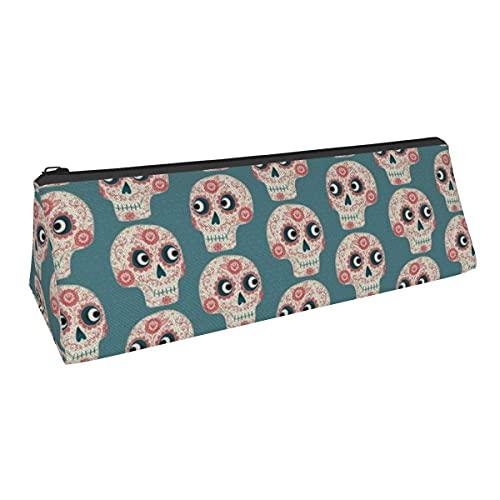 Bolsa de almacenamiento para bolígrafos con forma de calaveras mexicanas de azúcar, de pequeña capacidad, para niños, niñas, universidad, escuela media, oficina, alicates de papelería