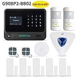 Sistema de seguridad para el hogar, teclado de pantalla táctil dorado con pantalla LCD inalámbrico WIFI y GSM (2G) 2 en 1 con dial automático, detectores de movimiento y más sistema de alarma para el hogar DIY G90BP2-BB02