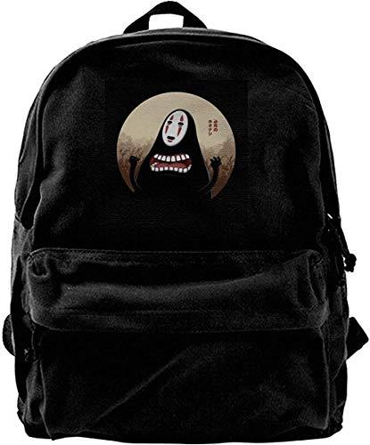 Homebe Mochila antirrobo Impermeable,Canvas Backpack No Face Spirited Away Frantic Faceless Spirit Rucksack Gym Hiking Laptop Shoulder Bag Daypack for Men Women