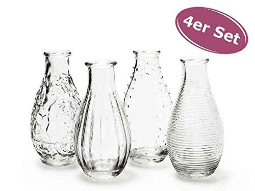 itsisa 4er Set Glasflaschen Decor - Vase, Tischdekoration, Glasvasen, Landhausdeko, Gastronomie