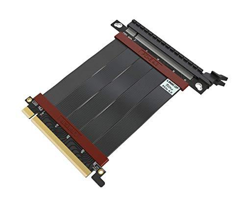 LINKUP - Ultra PCIe 4.0 X16 Tarjeta Extensión Cable Elevador [RTX 3080 RX5700XT Probado] Vertical Especial Doble Eje Súper Blindado Gen4 | Conector 180 Grados {10 cm} PCI Express 3.0 y TT Compatible