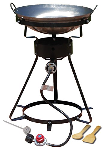 King Kooker 24WC 12' Portable Propane Outdoor Cooker with Wok, 18.5' L x 8' H x 18.5' W, Black