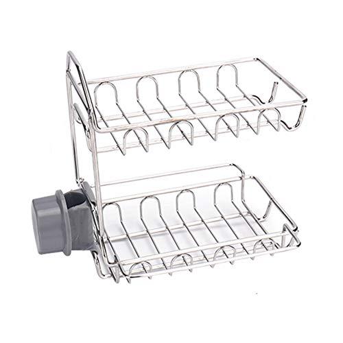 Keukenkraanframe, roestvrij stalen hangende dubbellaags afloop-geheugen-frame, kraanrek badkamer-afvoer-kraanframe Eén maat grijs