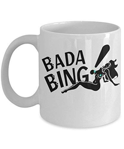 SJuczi Bada Bing by: Trinkets & Novelty Tv Show Inspired Sopranos Merchandise 11 oz Cult Classic Tony James Gandolfini Mafia New Jersey Paulie Coffee Tea Mug Cup for Sopranos Fans