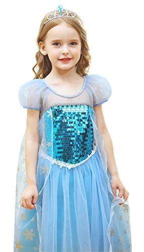 GREAMBABY Princess Fancy Dress Up Christmas Halloween Birthday Role Play Cosplay Party Costume Dress for Little Girls (3T, Snow Princess)