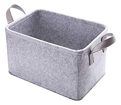 Minoisome Collapsible Storage Basket with Carry Handles Felt Fabric Storage Bin Durable Organizer for Gift Toys Shoes Clothes Towels Nursery Home Laundry Office Decorative Organizing Box(Light Grey)
