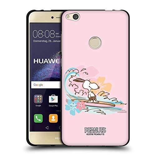 Head Case Designs Licenciado Oficialmente Peanuts Surfear Playa Bum Snoopy Funda de Gel Negro Compatible con Huawei P8 Lite (2017)