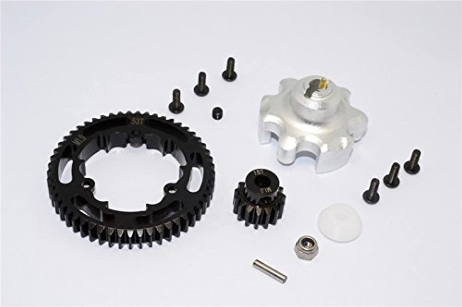 Traxxas XMaxx 4X4 Tuning Teile Aluminium Gear Adapter + Steel Spur Gear 53T + Motor Gear 15T (For XMaxx 6S Only)  1 Set Silver