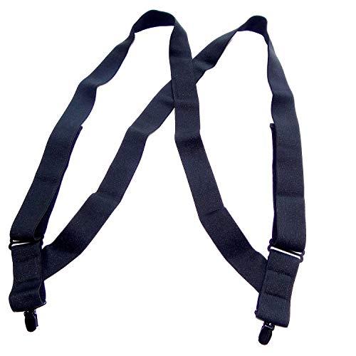 Holdup Brand All Black 1 1/2' Undergarment hidden Suspender in Hip Clip Style with Black No-slip Clips