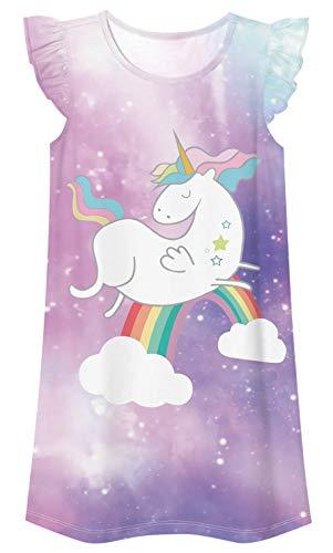 Ocean Plus Niña Vestido Plisado Mangas Volantes Vestido de Noche Sin Mangas con Volantes Camisón Dulce (Altura 135cm-140cm (M), Unicornio de Nubes Arcoiris)