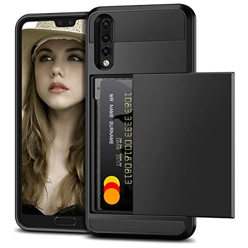 Vunake Funda para Huawei P20 Pro, con tarjetero, doble capa de protección, silicona TPU y policarbonato, protección contra caídas, funda para Huawei P20 Pro, color negro