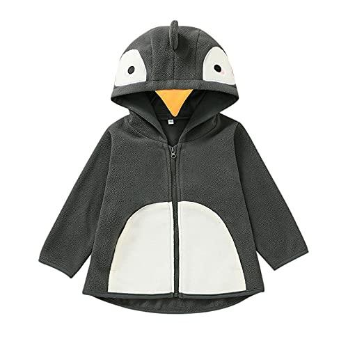 Sunbona Infant Newborn Boys Polar Fleece Jacket Coat Warm Full Zipper Cartoon Hooded Sweatshirt Outerwear Tops Clothes (Gray, 3-6 Months)