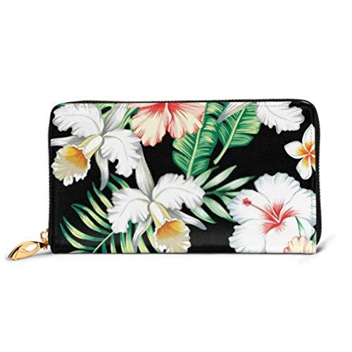 JHGFG Mode Handtasche Reißverschluss Brieftasche Tropic Summer Hibiscus Lily Orchid Nahtlose Telefon Clutch Geldbörse Abendkupplung Blocking Leder Brieftasche Multi Card Orga