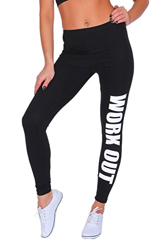 "FUTURO FASHION - Sportleggings - mit Print ""Work Out"" - lang - Baumwolle - Schwarz - 38"