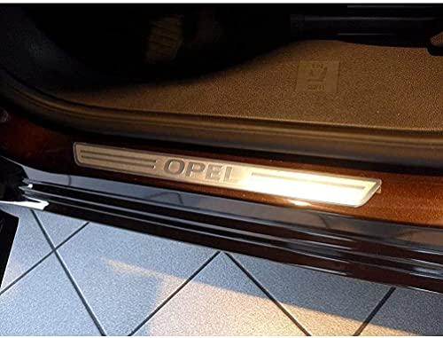 Edelstahl Auto Styling Einstiegsleisten für Opel Astra H G J Insignia Mokka Zafira Corsa Meriva, Türschweller Schutzstreifen Rutschfestes Abnutzungsplatte, Willkommenspedal Pedal Kick Plates, 4Pcs