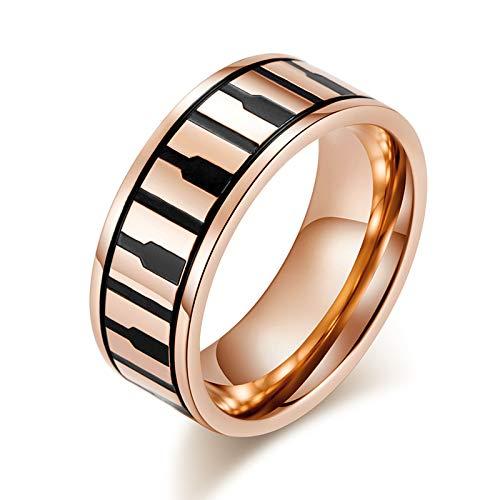 Beglie Ring für Frauen Klavier Verlobunsringe 8Mm Breit Titanium-Steel Eheringe Rosegold Trauringe Damen 54 (17.2)