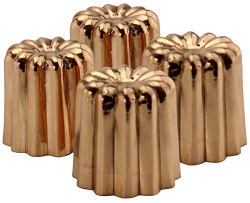 Darware Copper Canelé Pastry Molds (4-Pack); 2-Inch Bordeaux French Custard Cannele Cake Traditional Pastry Baking Molds with Heat-Conducting Copper