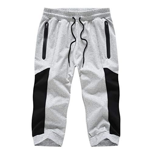 donhobo Pantalones cortos 3/4 para hombre, pantalones de chándal de algodón, pantalones capri, pantalones de verano, tiempo libre, con bolsillos con cremallera 03gris claro 42