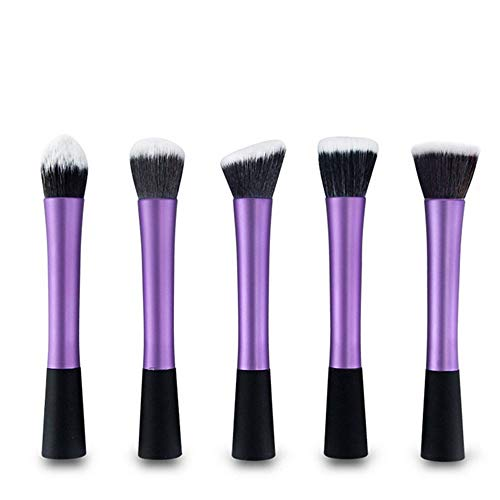 LULI Pinceau de Maquillage 5 pièce Violet Pinceau de Maquillage Professionnel Brosse à Poudre lâche Outils de beauté (Color : Purple)