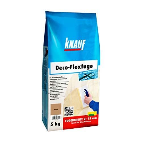 Knauf Deco-Flexfuge – Wand Fliesen-Mörtel auf Zement-Basis: pflegeleicht dank Knauf Perleffekt, schnell-härtend, passend zur Fliesenfarbe, Caramel, 5-kg