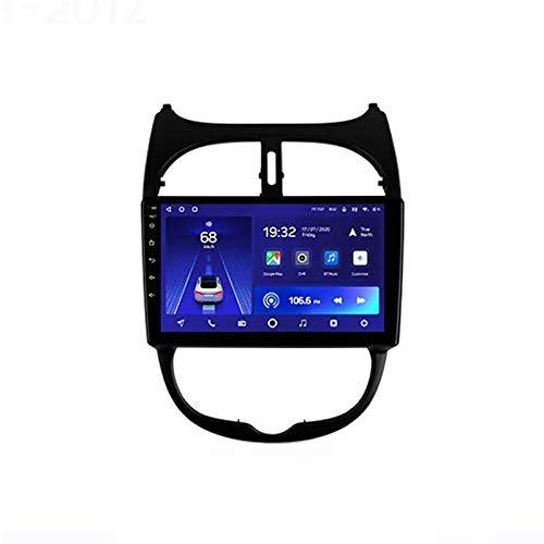 MIVPD Car Stereo Android 10.0 Radio para Peugeot 206 2000-2016 Navegación GPS Unidad Principal de 9 Pulgadas Pantalla táctil Reproductor Multimedia MP5 Receptor de Video con 4G WiFi SWC Carpla