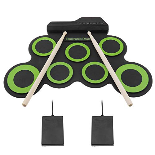 Juego de batería electrónica digital con kit de baquetas de 3 ritmos y 8 muescas de demostración de goma de silicona para niños portátil arrancadores Jazzist