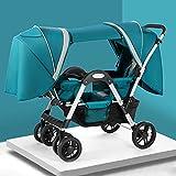 YXCKG Luxus Kinderwagen Doppelschirm-Kinderwagen Kinderwagen Mit Zwillingswagen Doppelkinderwagen...