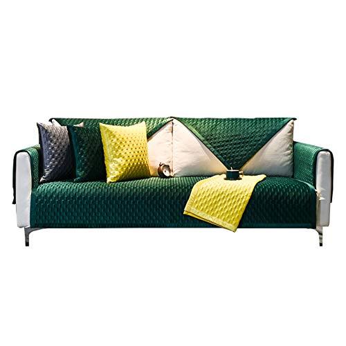 JIAGU Funda de sofá antideslizante resistente a las arrugas, color sólido nórdico, de lujo, de felpa, para invierno, tela de alta gama, antideslizante, color verde, tamaño: 110 x 180 cm