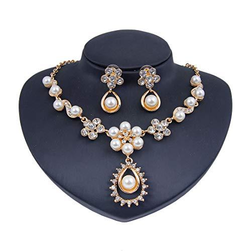 NUYI Frauen-Halsketten-Ohr Perle Mosaik Diamant-Anhänger Mode-Legierung Strass-Schmuck-Set (Earring + Necklace),Gold