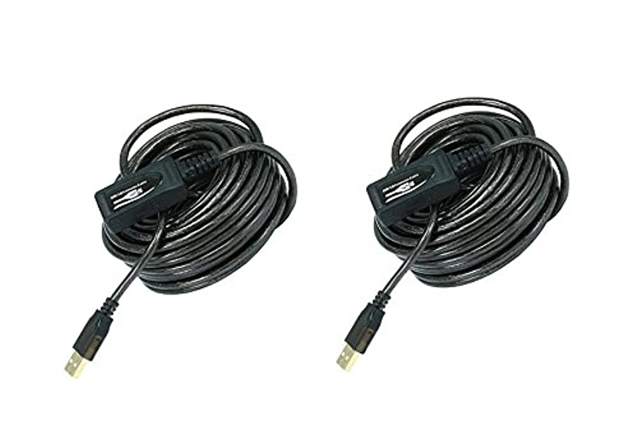 C&E 2 Pack USB 2.0 Active Extension Cable 33 Feet Black, CNE463365