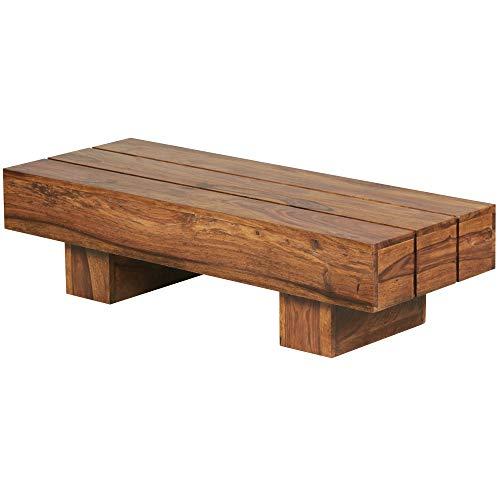 WOHNLING Couchtisch LUCCA Massiv-Holz Sheesham 120 cm breit Wohnzimmer-Tisch Design dunkel-braun Landhaus-Stil Beistelltisch Natur-Produkt Wohnzimmermöbel Unikat modern Massivholzmöbel Echtholz rechteckig