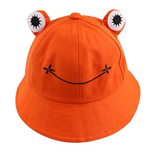DANGAO Rana Verde Linda Negro Imprimir Pescador Casquillo del Verano del Sombrero del Cubo de Dibujos Animados Panamá for Las Mujeres de Las señoras (Color : Orange)