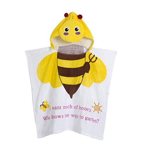 Gagacity Unisex Bambini Teli da Poncho da Bagno con Cappuccio,Coperta Morbida Cotone di Balneazione Wrap Vestaglia per 1-6 Anni/Ape Gialla