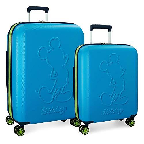 Disney Mickey Colored Kofferset Blau 55/68 cms Hartschalen ABS TSA-Schloss 115L 4 Doppelräder Erweiterbar Handgepäck
