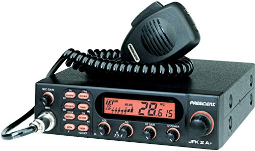 President Electronics JFK II A+ Ham Amateur Radio Transceiver, AM/FM Modulation Modes, Channel Rotary Switch, Volume Adjustment and ON/OFF, Manual squelch and ASC, Multi-functions LCD Display
