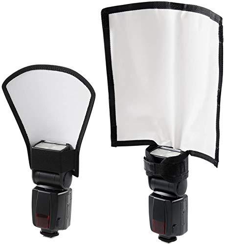 Universal Blitz Diffusor Set, Mini Blitz Reflektor Silber/Weiß, Biegbarer Positionierbarer Blitzleuchten Diffusor Softbox für Nikon Canon Sony Speedlite