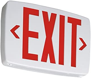 Lithonia Lighting LQM S W 3 R 120/277 EL N M6 Quantum Thermoplastic LED Emergency Exit Sign with Stencil-Faced White Housing and Red Letters with Nickel Cadium battery