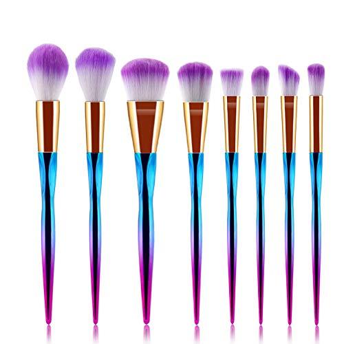 Lot de 8 pinceaux de maquillage professionnels en forme de cœur Violet