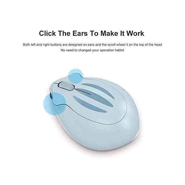 24ghz Wireless Mouse Cute Hamster Shape Less Noice Portable Mobile Optical 1200dpi Usb Mice Cordless Mouse For Pc Laptop Computer Notebook Macbook Kids Girl Gift Blue