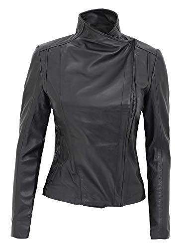 fjackets Black Leather Jacket Women - Lambskin Motorcycle Style Leather Jacket   [1303465],Arezzo Black,XL