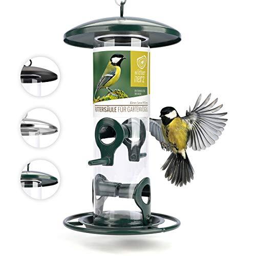 wildtier herz I Körner Vogelfutterspender 26cm - 5 Jahre Garantie – aus rostfreiem Metall, Vogel Futterstation, Futtersäule, Wildvögel Futtersilo, Grün